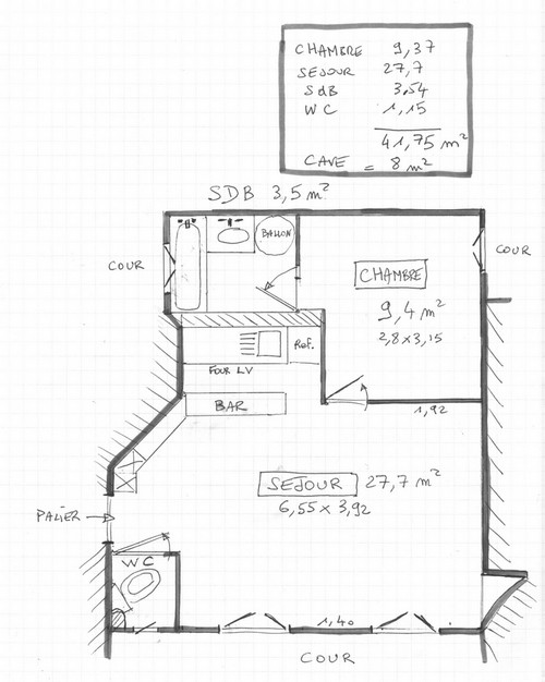 plan appartement 42 m2